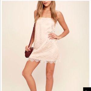 Lulus light pink/ nude lace dress